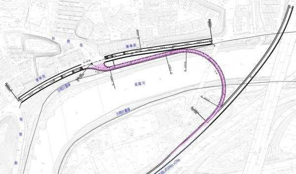 汐止交流道增設南入匝道規劃圖。(新北市交通局提供)
