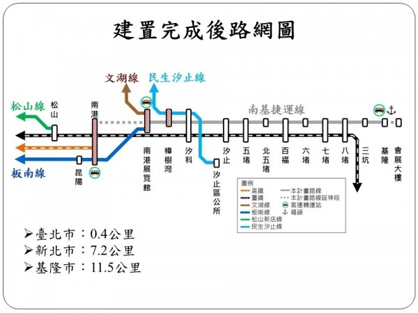 基隆輕軌路網圖。(基隆市政府提供)