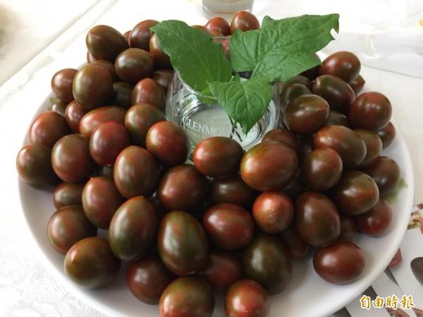 「琥番茄」每公斤400元,市埸供不應求。(記者顏宏駿攝)