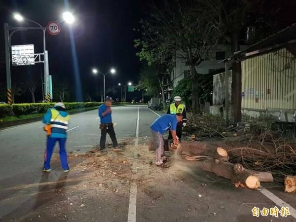 建業社區巡守隧員協助清理斷裂路樹。(記者陳賢義攝)