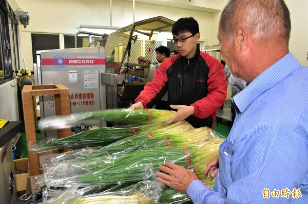 農委會去年補助三星地區農會購置大型保鮮包裝機,延長青蔥保存期,避免市場供需失衡。(記者張議晨攝)
