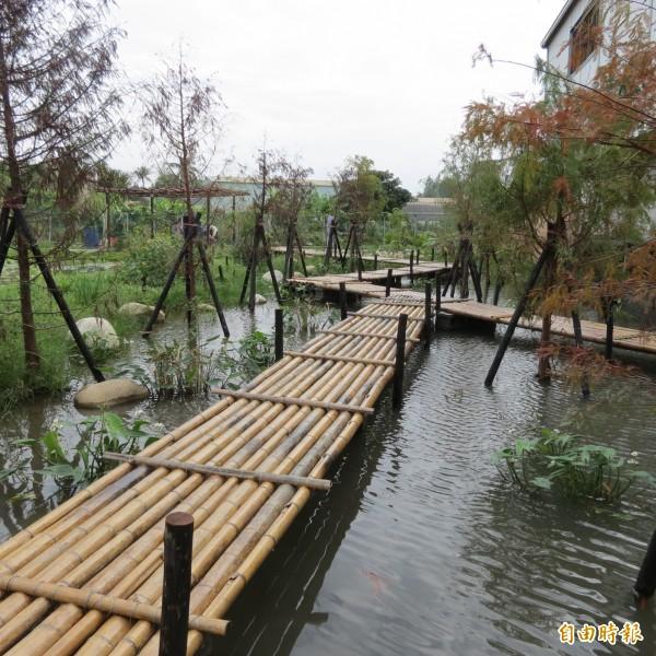 台中市多一處秘境,小橋流水人家,還有落羽松步道,景致幽美(記者蘇金鳳攝)