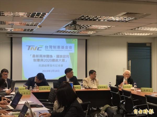辜寬敏成立的台灣制憲基金會今天公布民調。(記者蘇芳禾攝)