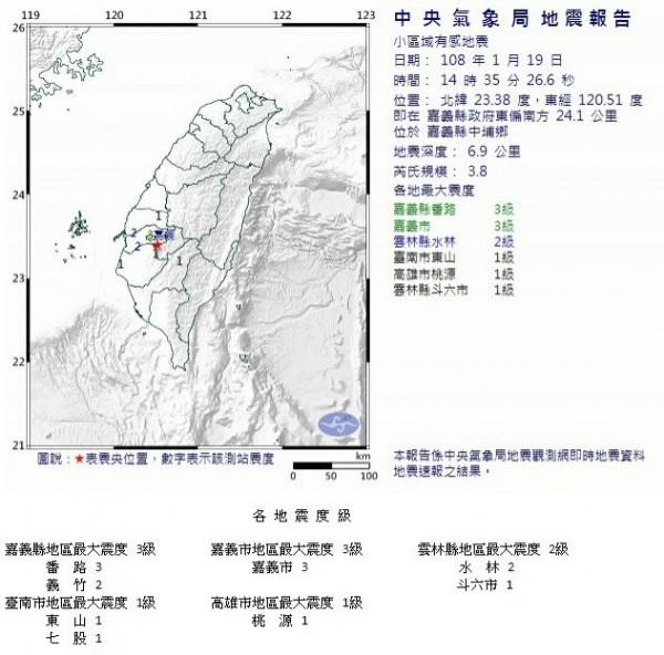 嘉義縣今下午發生芮氏規模3.8地震,民眾明顯感到地面一陣晃動。(擷取自中央氣象局網站)