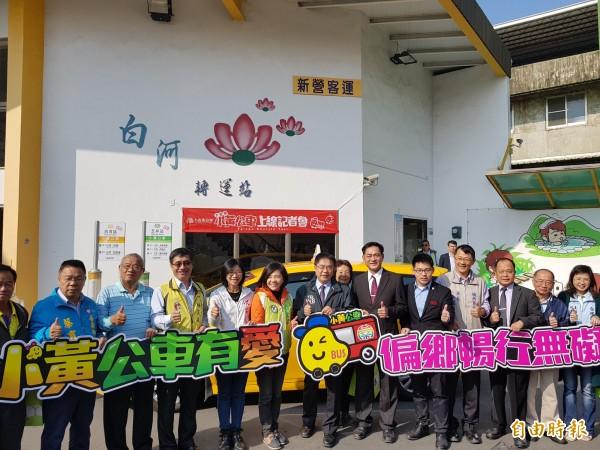 大台南小黃公車今日上線,台南市長黃偉哲表示,未來會加強溪北地區的服務。(記者王涵平攝)