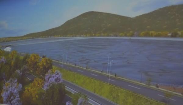 為了解決彰化民生用水問題,水利署中區水資源局開闢烏溪鳥嘴潭人工湖,預計2022年完工。圖為完工示意圖。(記者陳建志翻攝)