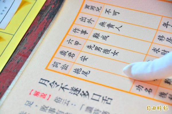花蓮勝安宮抽國運籤,歲君抽到癸丑,代表「安」字。(記者花孟璟攝)