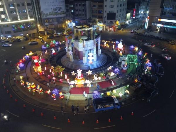 斗六圓環燈區空照圖。(斗六市公所提供)