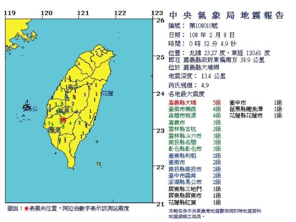 凌晨0:52嘉義大埔地震規模4.9,中部地區很有感(圖自網路)