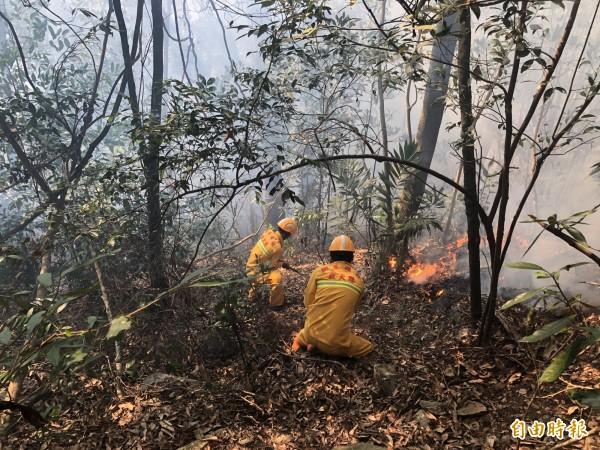南投信義潭南山區發生森林大火,林務局緊急派員前往開闢防火線打火。(記者劉濱銓翻攝)