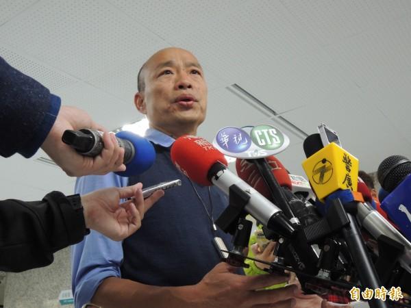 高市長韓國瑜證實,2月底出訪星馬將與馬國官員會面。(記者王榮祥攝)