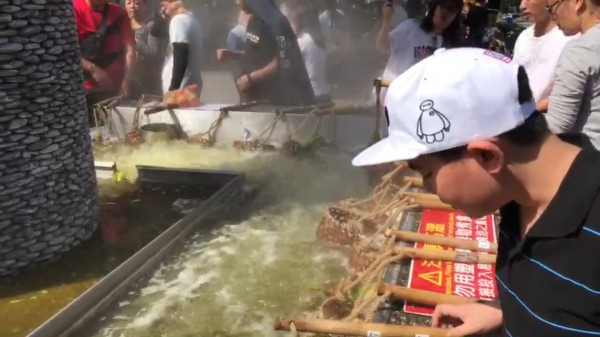 清水地熱公園溫泉煮食池。(記者江志雄翻攝)