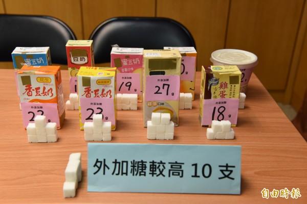 董氏基金會調查市售豆漿產品。外加糖較高的十件產品。(記者吳亮儀攝)