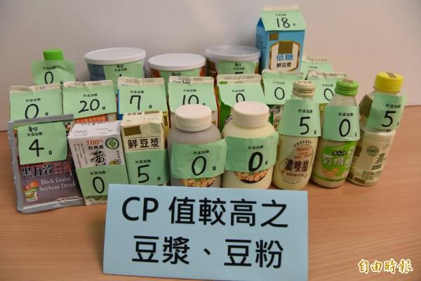 董氏基金會調查市售豆漿產品。其中CP值較高的豆漿、豆粉。(記者吳亮儀攝)