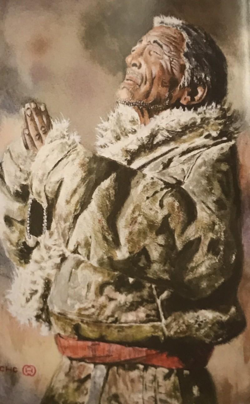 新竹縣私立義民高中廣告設計科學生簡家成臨摹中國畫家葉獻民畫作的「信仰」。(記者黃美珠翻攝)