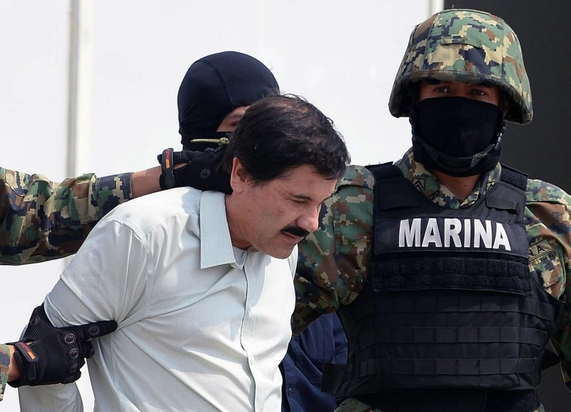 全球最大毒梟「矮子」古茲曼10項罪名成立,將在牢裡度過餘生。(法新社)