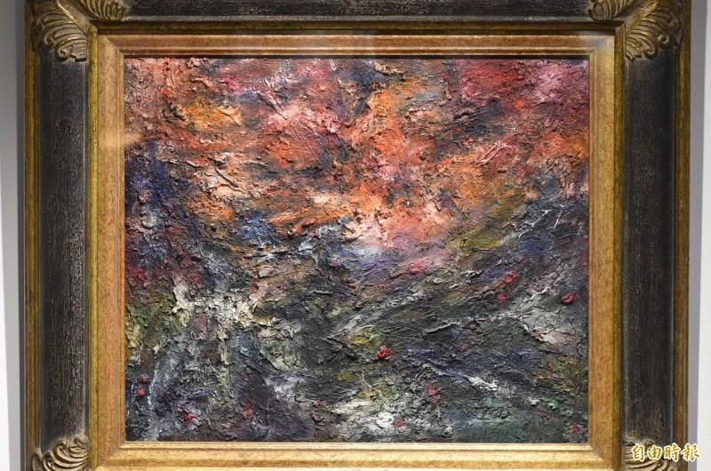 何宗烈的作品希望之光,以獨特線條符號與大膽色調,抽象地描繪出對生命的真理與堅持 。(記者張忠義攝)
