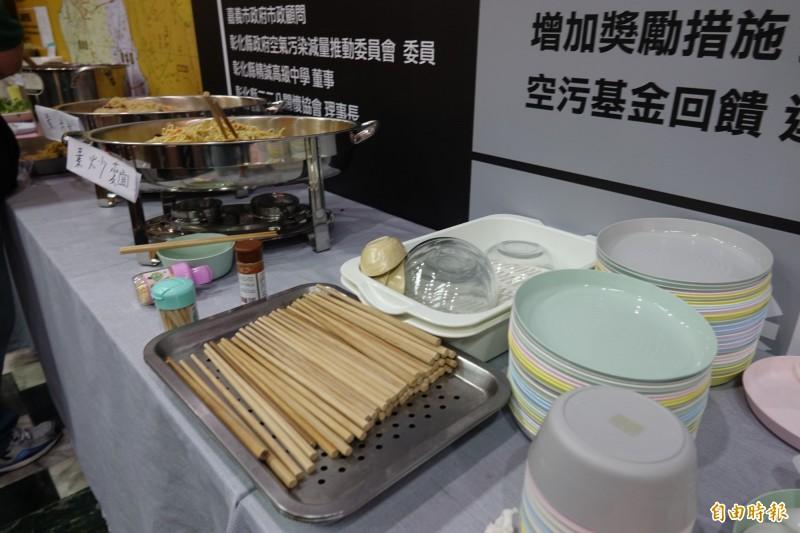 楊澤民成立和美競選總部,連用餐都準備環保餐具,不用一次性餐具。(記者劉曉欣攝)