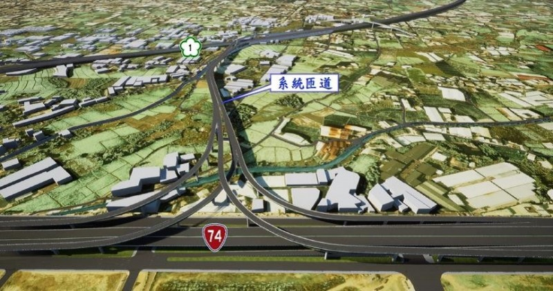 計畫系統匝道全景透視圖。(高公局提供)