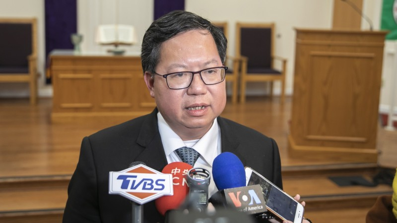 桃園市長鄭文燦受訪時,呼籲美國更重視台灣。(市府提供)