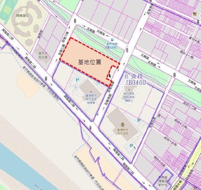 新竹縣立公共圖書館總館的基地,緊臨東興圳。(新竹縣政府提供)