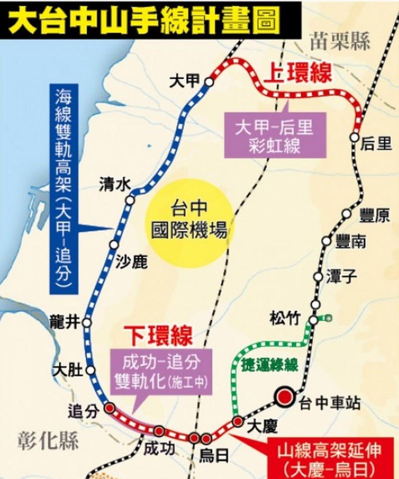 大台中山手線計畫圖。(資料照)