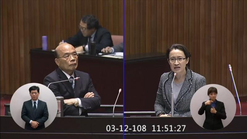 立委蕭美琴向中央爭取海洋資源博物館,今天在立院向行政院長蘇貞昌質詢獲得支持。(蕭美琴辦公室提供)