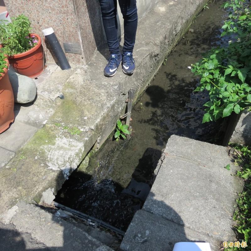 烏日中華路176號旁溝渠窄小常會積垃圾,又無法直通下游溝渠,逢大雨就會淹水,住戶苦不堪言,要求市府解決。(記者蘇金鳳攝)
