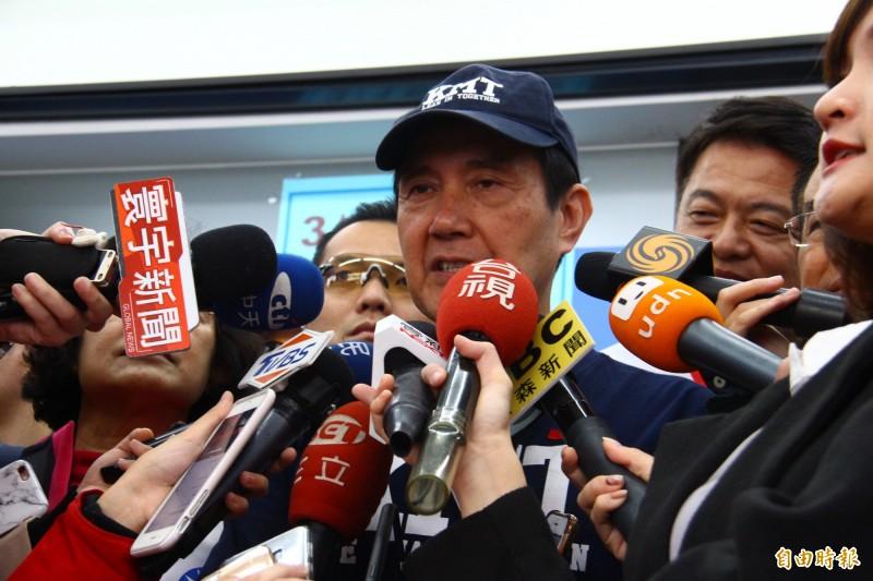 馬英九說,當初自經區是遭到民進黨反對而無法三讀通過。(記者邱書昱攝)
