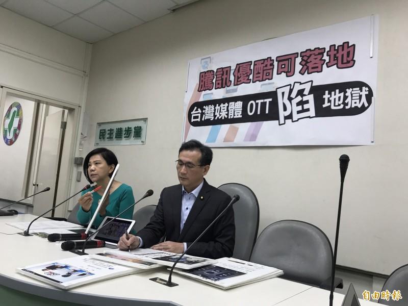 書記長鄭運鵬表示,騰訊、優酷這樣的中共黨營事業一旦落地,不僅台灣用語、文化、文字受到影響,台灣的業者也會陷入無法競爭的地獄。(記者蘇芳禾攝)