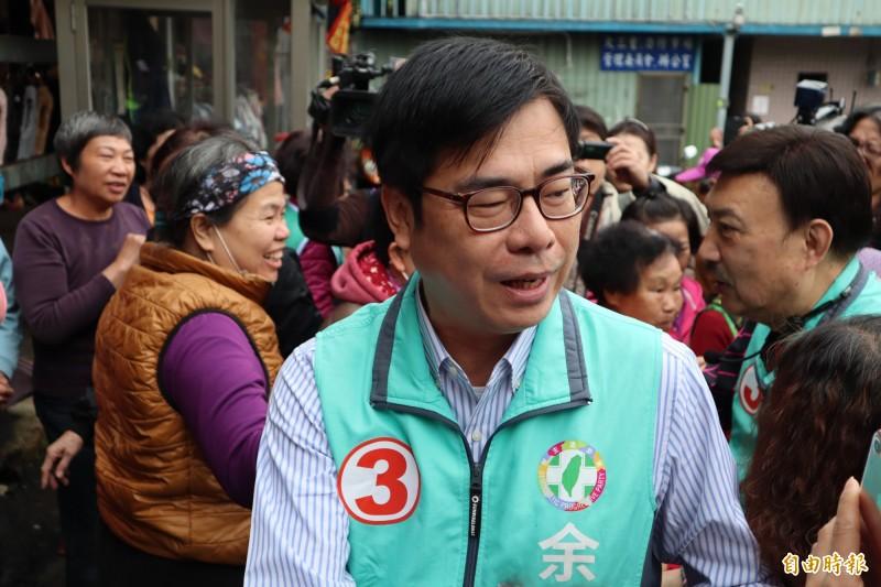 面對吳敦義昨天指出,「若韓國瑜當選總統不會對不起高雄」,陳其邁今天說,韓當選市長對高雄有承諾。(記者周湘芸攝)