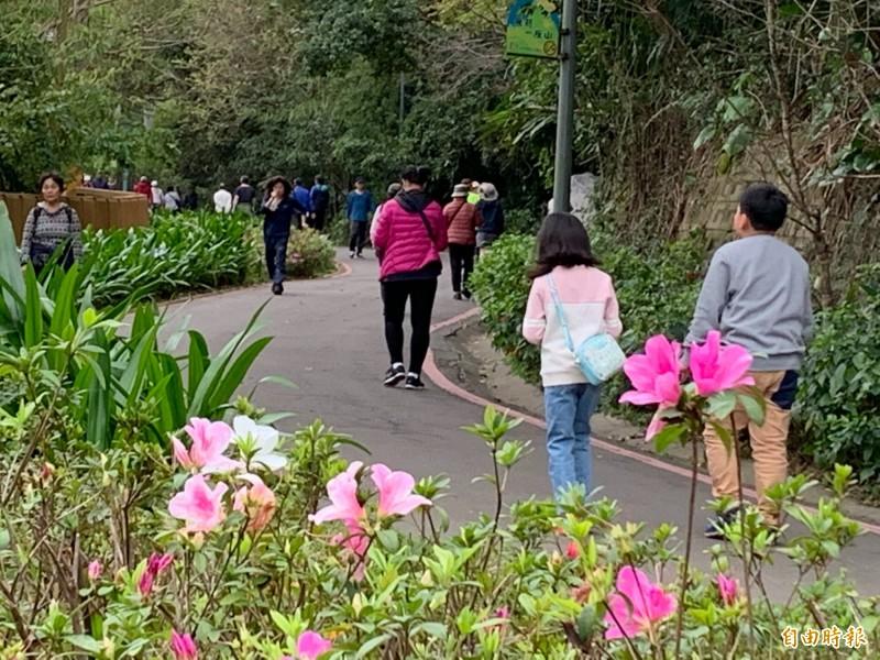 新竹市政府在十八尖山舉辦拜訪春天的健行趣活動,吸引超過3000人來享受森林浴,還透過闖關活動 抒解壓力,直說超有元氣的。(記者洪美秀攝)
