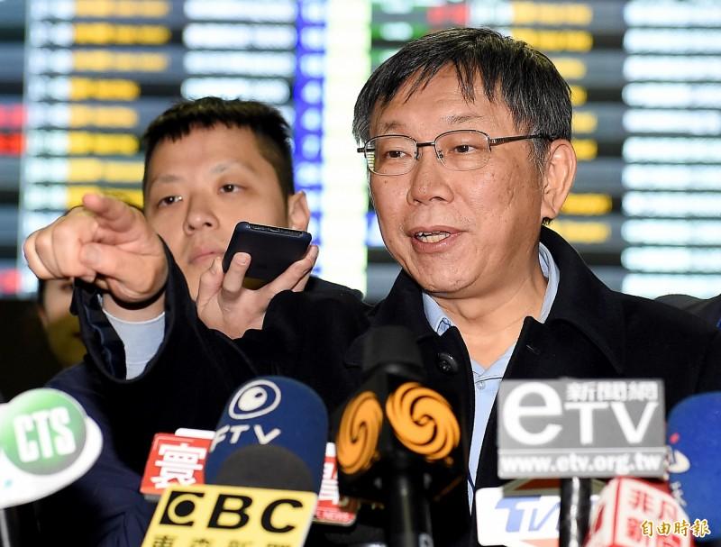 台北市長柯文哲16日晚間啟程展開為期9天的訪美行程,他在行前表示,韓流效應還是很強,只是就像土石流一樣有程度,淹一個小村莊可以,要把整個城市淹掉也不容易。(記者朱沛雄攝)
