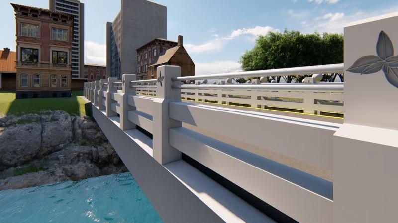 新竹縣關西鎮長劉德樑說,經眾人共同討論,未來拆除重建後的東安古橋「新護欄」外觀將是如此。(圖由關西鎮公所提供)