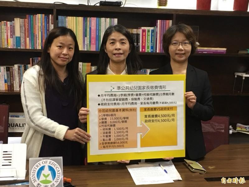 教育部國教署副署長許麗娟表示,教育部將於4月1日上網公告全國6千多所公私幼收費項目及金額。(記者林曉雲攝)