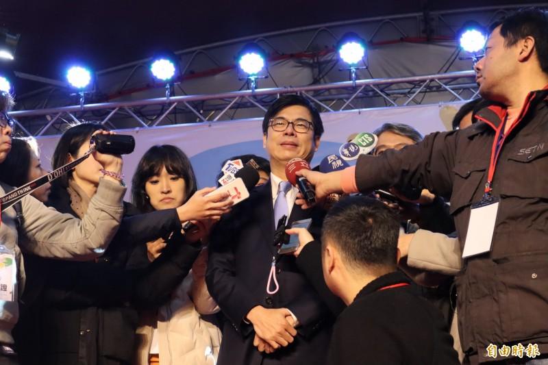 面對韓國瑜訪中聯辦行程惹議,陳其邁今也呼籲韓國瑜應出面說明。(記者周湘芸攝)