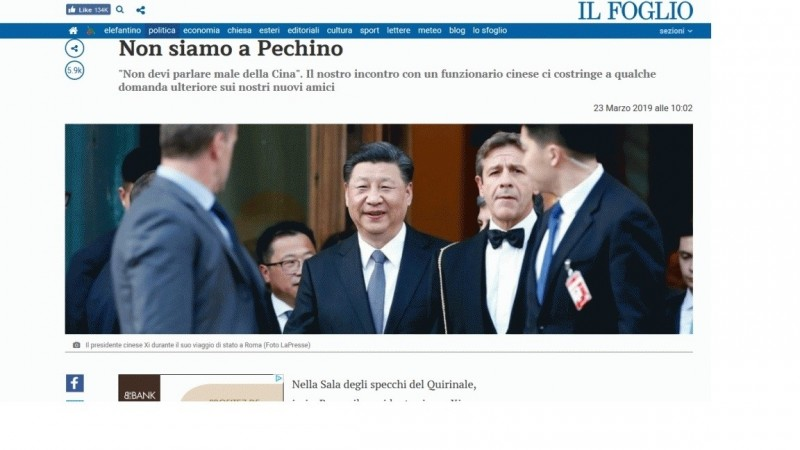 中國使館官員威脅義大利記者,被《頁報》(Il Foglio)反擊:這裡不是北京。(網頁擷圖)