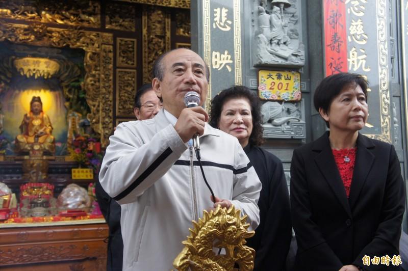 王金平向觀音信徒表示,台灣缺乏利他精神應向觀音學習。(記者劉禹慶攝)