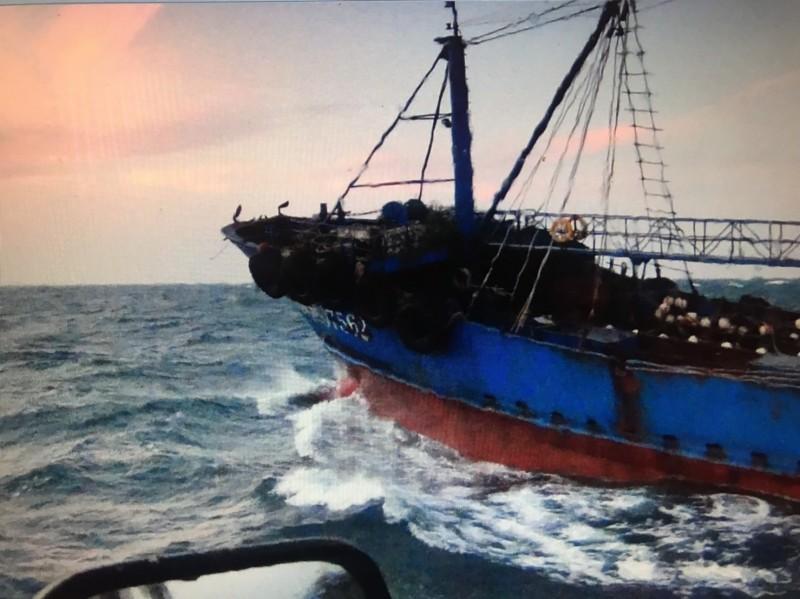中國籍「閩獅漁07562」漁船界捕撈,遭台中海巡隊查獲。(記者歐素美翻攝)