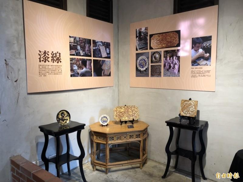 雲林記憶Cool媽祖文化展結合粧佛、漆線、纏花。(記者廖淑玲攝)