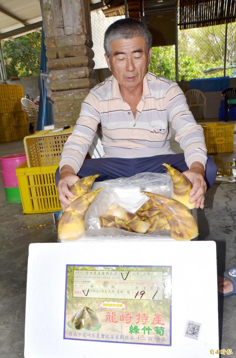 頂級的龍崎綠竹筍,目前台北果菜市場拍賣價每公斤270元。(記者吳俊鋒攝)