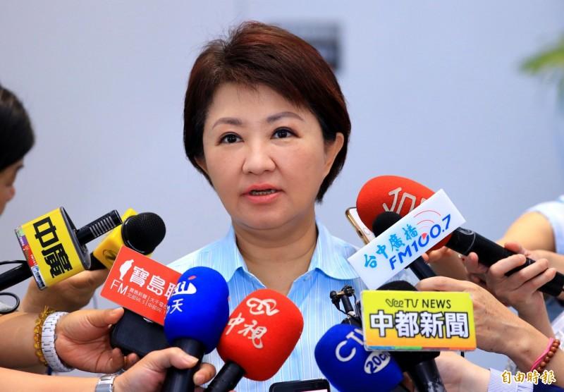 針對國民黨是否徵召高雄市長韓國瑜,台中市長盧秀燕呼籲,多給韓國瑜一點時間與空間。(記者張菁雅攝)