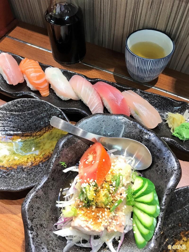 「峰鮨壽司」食材新鮮,道道美味可口。(記者林欣漢攝)