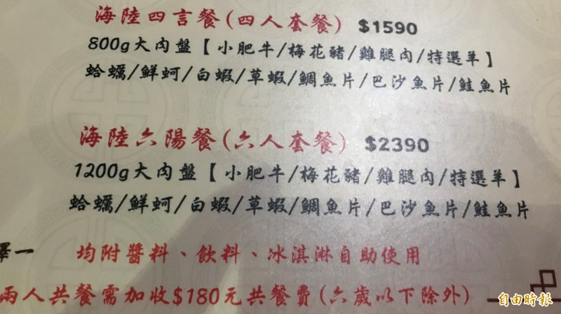 楊男冒角頭大哥名義訂了3套6人套餐(記者吳昇儒攝)