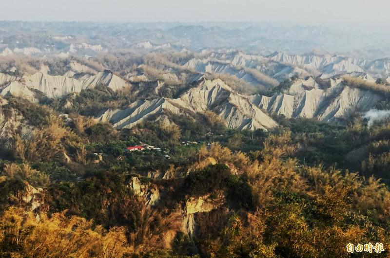 左鎮的「月世界」泥岩景觀,遠近馳名。(記者吳俊鋒攝)