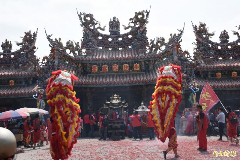 拱範宮開山媽祖明天展開為期6天5夜遶境活動。(記者林國賢攝)
