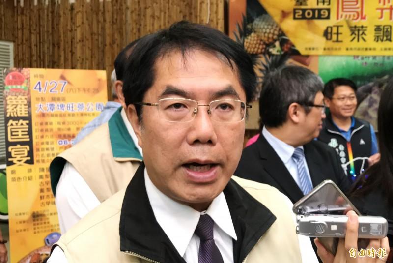 鴻海董事長郭台銘可能參選總統,台南市長黃偉哲發表看法。(記者吳俊鋒攝)