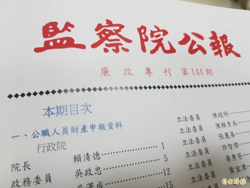 監察院今公布最新一期《廉政專刊》。(記者謝君臨攝)