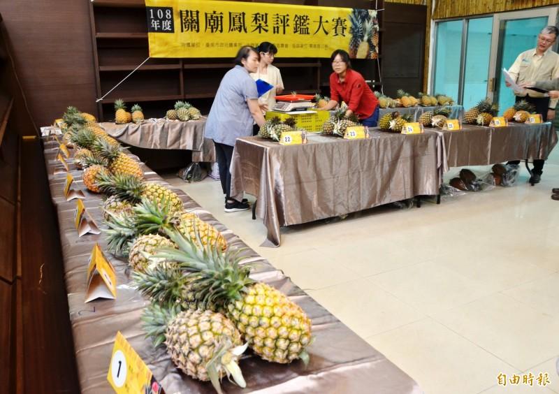 結合產業文化活動,關廟區農會舉辦鳳梨評鑑大賽。(記者吳俊鋒攝)