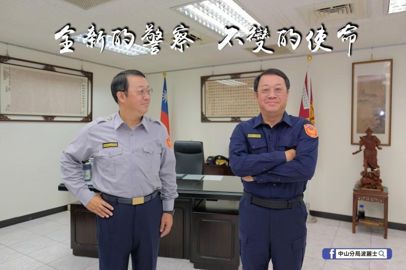 中山分局長楊哲昌也親自拍攝宣傳照片。(記者王冠仁翻攝)